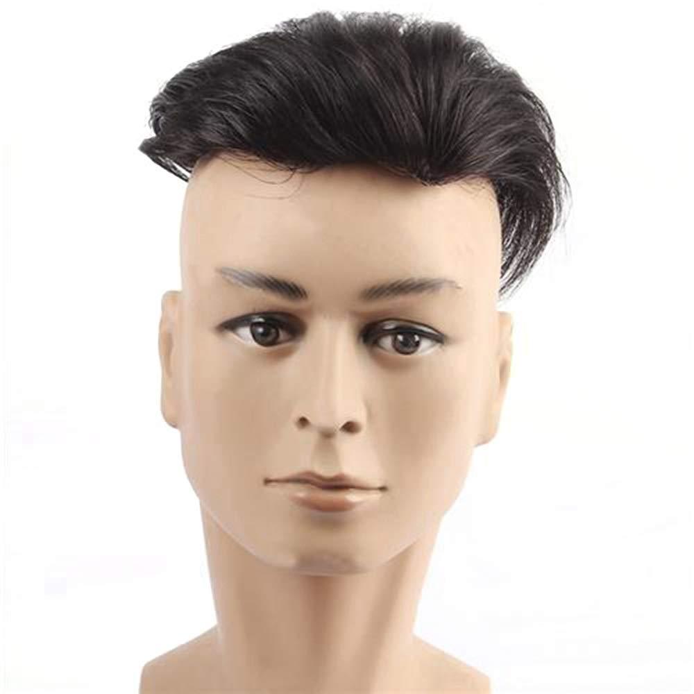 YAHONGOE 男性のための短い本物の髪の拡張子でハンドニードルクリップハンサムな手織かつらファッションかつら (色 : Natural black, サイズ : 16x18) B07QJBMDC1 Natural black 16x18