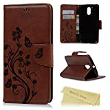 Gifts Flowers Food Best Deals - MOTO G4 Plus Case,Motorola MOTO G4 Plus Case - Wallet Embossed Flowers Butterflies Premuim PU Leather Slim Fit Soft TPU Inner Cover with Wrist String & Magnetic Clip & ID/Credit Card Holders - Brown
