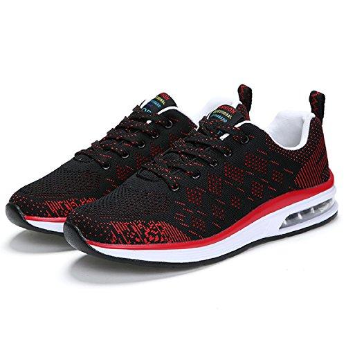 H-Mastery Zapatos de Running Adecuado para en Aire Libre y Deportes Malla Transpirable de Aire zapatillas de Deporte Hombre Negro y rojo