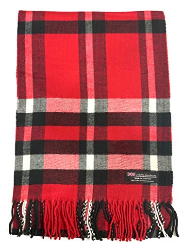 100% Cashmere Scarf Elegant Collection Made in Scotland Wool Buffalo Tartan Windowpane Check Plaid (Red)