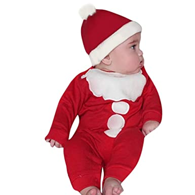 c9ee529d909f 2018 Toddler Christmas Clothes Set Vovotrade Newborn Infant Thick Warm  Romper Infant Xmas Long Sleeve Patchwork Jumpsuit +Hat Outfits Set   Amazon.co.uk  ...