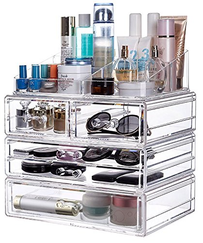 Nine Grid (Cq acrylic Large 5 Drawers and 9 Grid Makeup Organizer with Cosmetic Organizer Storage,12