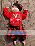 3PC Baby Christmas Outfits Toddler Girl Boy Clothes Print Romper Plaid Pants with Hat Costumes Set