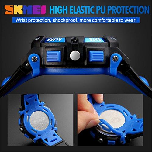 LIGE Electronic Led Display Sport Watch Kids Black Blue