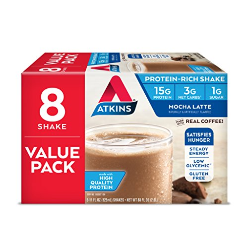 Atkins Gluten Free Protein-Rich Shake, Mocha Latte, Keto Friendly, 8 Count