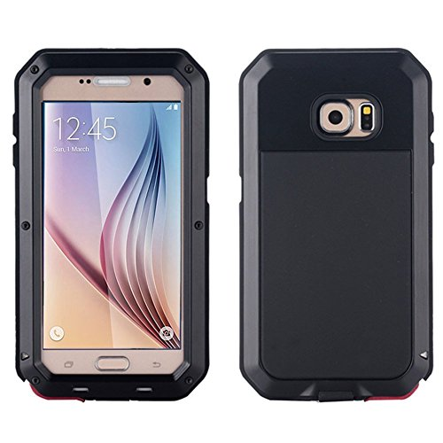 Tomplus Galaxy S6 Case, Waterproof Shockproof Aluminum Gorilla Glass Metal Case Cover for Samsung Galaxy S6 G9200 (Black)