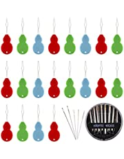 KUUQA 20 Pieces Needle Threaders Gourd Shaped Plastic Needle Thread Detector with 1 Set Assorted Sizes Hand Sewing Needles