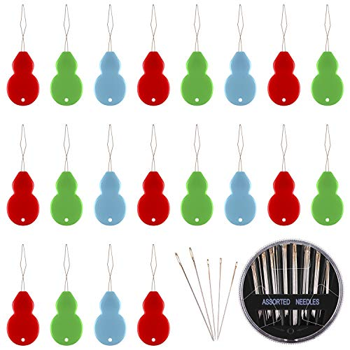 Assorted Colors 50 Pieces Gourd Shaped Plastic Needle Threaders with Clear Box