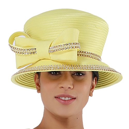 Kueeni Women Church Suits with Hats Special Occasion Wedding Party Clothes Yellow