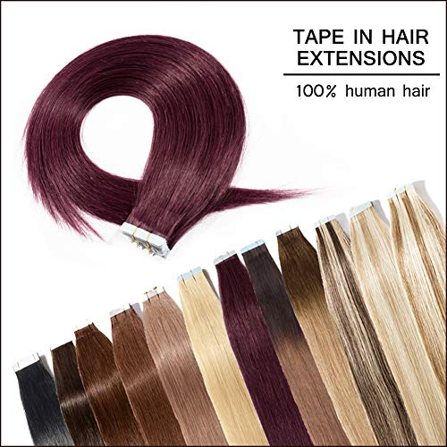 Seamless Remy Tape in Hair Extensions Human Hair 18inch 100g 40pcs Wine Red Professional Tape on Skin Weft Straight Hair Extensions (18'',#99J)+ 20pcs Free Tapes]()