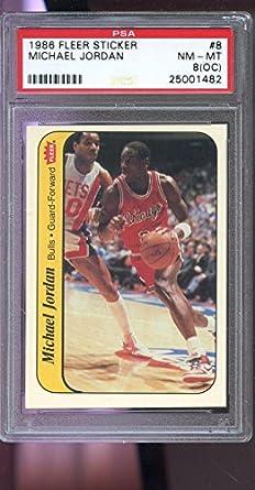 Amazoncom 1986 87 Fleer Sticker 8 Michael Jordan Rookie