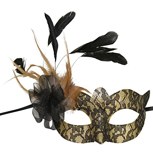 KAYSO INC Electric Brocade Lace Venetian Masquerade Mask w/ Feathers (Gold/Black)