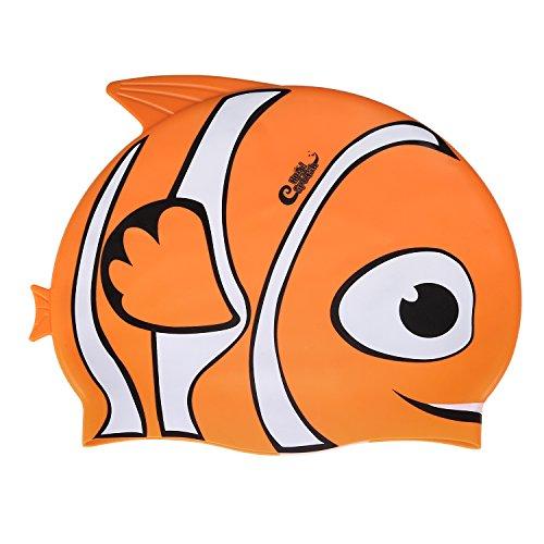 HeySplash Kids Swim Cap, High Elastic Silicone Fish Style Waterproof Swimming Cap for Children Boys & Girls (Orange) (Nemo Swim Cap)