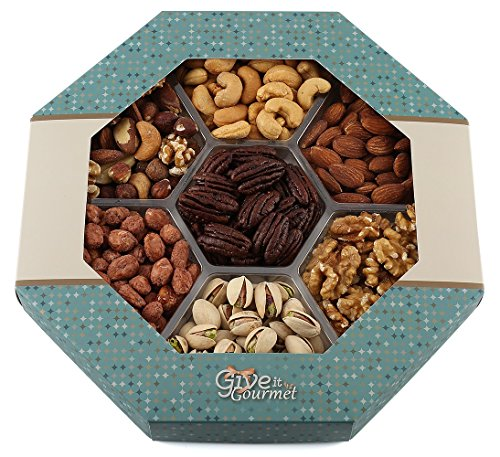 GIVE IT GOURMET, Freshly Roasted Delicious Healthy Nuts Holiday Gift Basket (Large Gift Tray) (Dad Birthday Gift Basket)