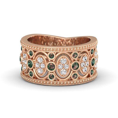 14K Rose Gold Vintage-Style Wedding Ring with Alexandrite & White Sapphire â€