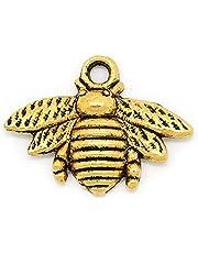 Housweety 50 قطعة من حلية النحلة المعدنية 21 مم × 16 مم (7/8 بوصة × 5/8 بوصة) (نغمة ذهبية)