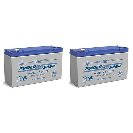 Power Sonic PS-6100 6V 12AH SLA Battery Replacement for Rhino SLA10-6 T25-2 Pack