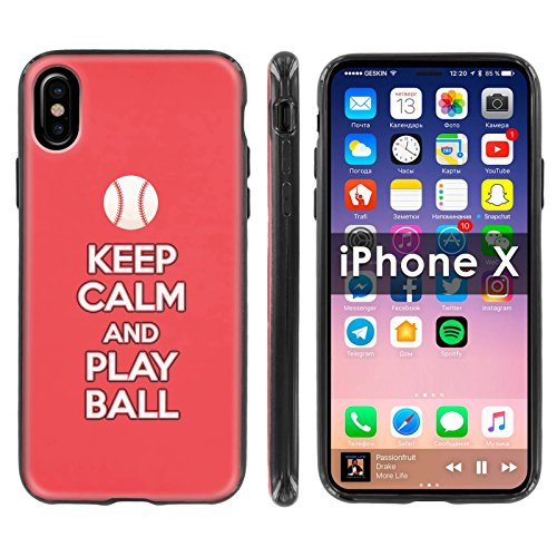 ([Mobiflare] TPU Silicone Phone Case FIT Apple i-Phone X [Black] Ultraflex Thin Gel Phone Cover [SCREEN PROTECTOR INCLUDED] - [Play Ball - Cincinnati])