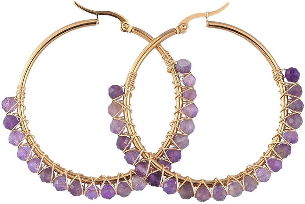 SHEGRACE Pendientes de Aro, con Perlas Naturales de Piedra Lunar, Pendientes de Acero Inoxidable con Baño de Oro, 50 mm