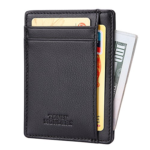Tonly Monders Minimalist Genuine Leather Wallet RFID Front Pocket Wallet Slim Credit Card Holder (Black - Napa)