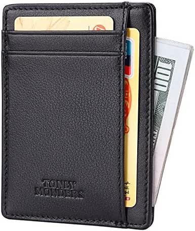Tonly Monders Minimalist Genuine Leather Wallet RFID Front Pocket Wallet Slim Credit Card Holder