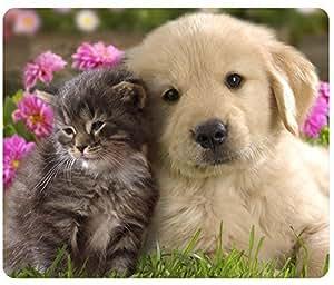 Animals Cat Kitten Dog Golden Retriever Puppy Mousepad,Custom Rectangular Mouse Pad