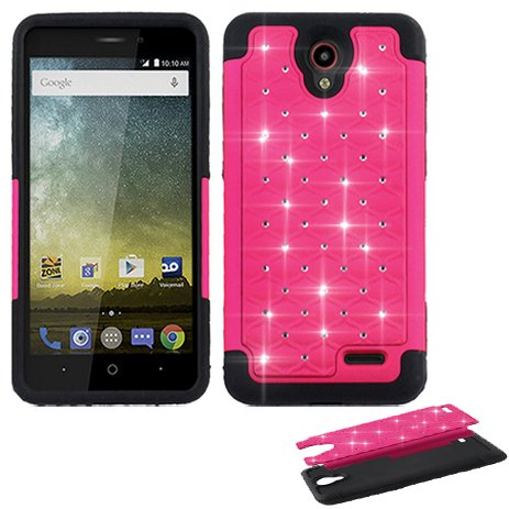 Phone Case For AT&T PREPAID ZTE Maven-3, ZTE Prestige-2 N9136, ZTE Prelude-Plus, Overture 3, Avid-828, Midnight-Pro Crystal-Dual-Layered Cover (Crystal Pink with (Att Cover)