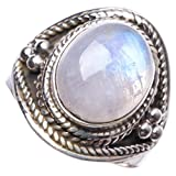 Natural Rainbow Moonsone Handmade Unique 925 Sterling Silver Ring 7.75 Y3931