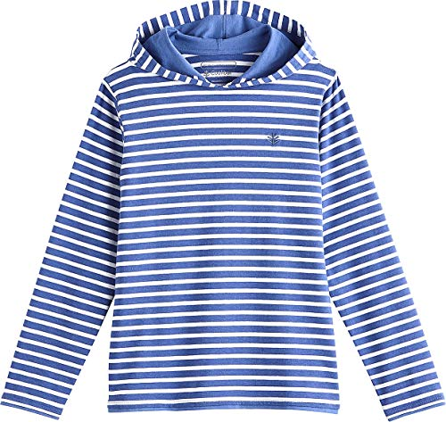 (Coolibar UPF 50+ Kids' Oasis Pullover Hoodie - Sun Protective (Small- Empire Blue/White Stripe))