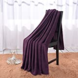 (US) Simple&Opulence Solid Coral Jacquard Dot Velvet 50 X 60-Inches Throw Blanket, Purple