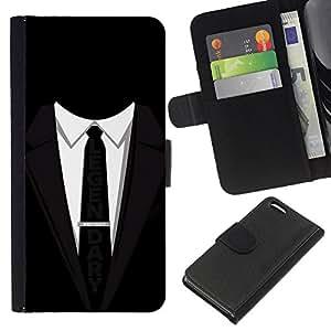 KLONGSHOP // Tirón de la caja Cartera de cuero con ranuras para tarjetas - Traje Tie Negro legendario lema del hombre de negocios - Apple Iphone 5C //