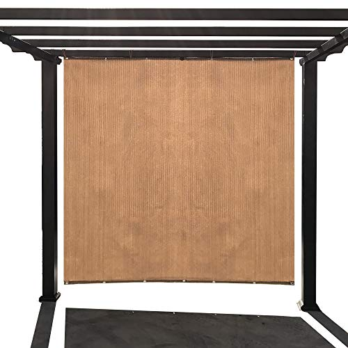 Alion Home Custom Sized Outdoor Sun Shade Privacy Panel with Grommets on 2 Sides for Patio, Awning, Window (10′ x 6′, Walnut)