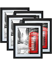 8x10 Picture Frame Black Photo Frames Set with Mat for Wall or Tabletop, Pack of 5