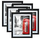 8x10 Picture Frame Black Photo Frames Set with Mat for Wall or Tabletop