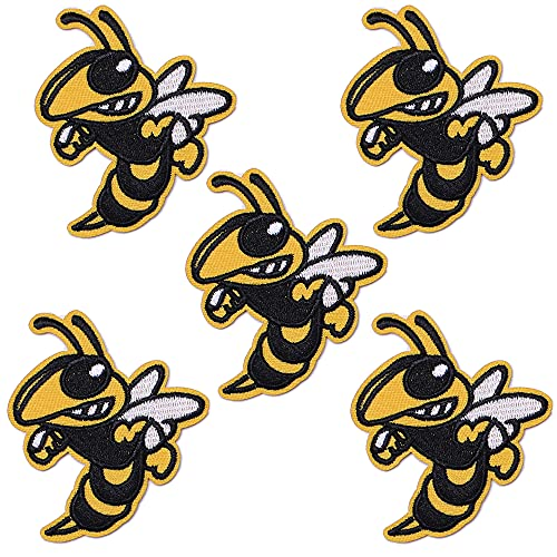 J.CARP 5Pcs Bee Patch Bumble Bee Embroidered Iron on Patch for Clothes, Iron-on Patches / Sew-on Appliques Patches for Vest, Jackets, Backpacks, Caps, Jeans to Cover Holes / Logo