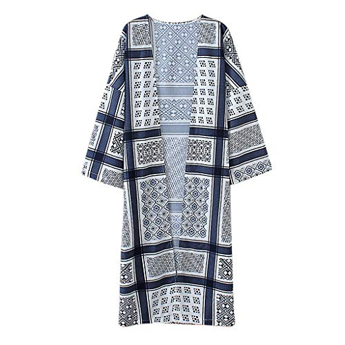 RoDeke Women's Summer Long Sleeves Geometric Print Beach Cover Up Casual Flowy Loose Blouse Tops Navy