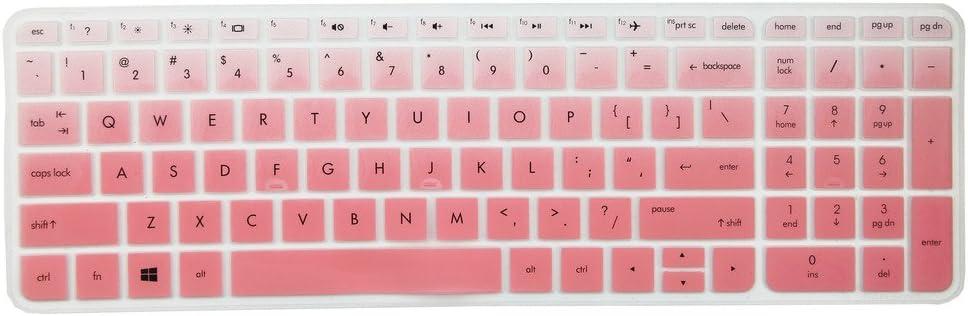 Leze - Ultra Thin Silicone Keyboard Cover Skin Protector for 15.6 Inch HP ENVY X360 m6-w,ENVY m7-n,m7-u,Pavilion 15-ab 15-ac 15-af 15-as 15-au 15-ay 15-ak 15t-ae 15-ba 15-bc Semi - Gradual Pink