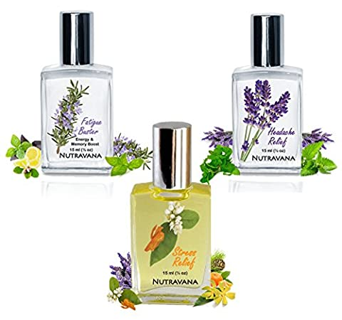 Nutravana Remedy Trio Gift Set: Headache & Stress Relief, Fatigue Buster Natural Health Aromatherapy Spa Bliss for Women Men Mom Dad Girls or Get Well -Ready to Roll-on -Safe for Kids -100% - Energy Gift Basket