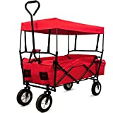 Deuba Garden Trolley Cart Folding Transport Hand Truck Trailer Utility Cart 100kg Removable Roof