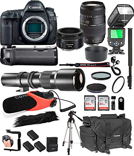 Canon EOS 5D Mark IV with 50mm f/1.8 STM Prime + Tamron 70-300mm f/4-5.6 Di LD + 500mm Telephoto + 128GB Memory + Pro Battery Bundle + Power Grip + TTL Speed Light + Pro Filters,(25pc Bundle)