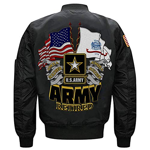 (U.S Army Retired Once A Soldier Always a Soldier MA-1 Flight Embroidered Bomber Jacket (Black, M))