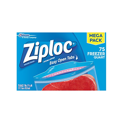 Ziploc Freezer Quart Bags, 75 Count