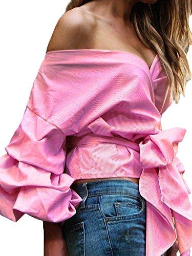 Simplee Apparel 3 / 4 manga V Neck Wrap drop - off - hombro con gradas manga de campana del lazo en la cintura de volantes blusa camisa crop top Rosa