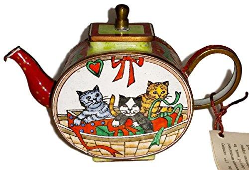 - Kelvin Chen Kittens Cats Playing in Christmas Basket Decorative Enamel Teapot