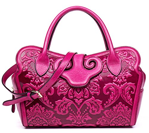 Pink Embossed Leather (Malirona Women's Tote Handbag Genuine Leather Embossed Floral Shoulder Bags (Pink))