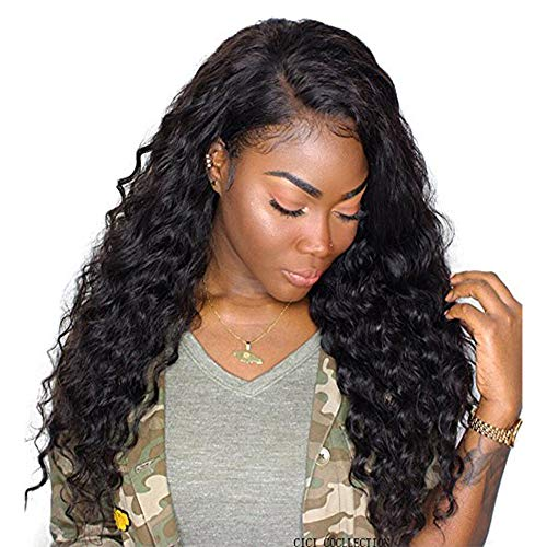 Dolago 360 Lace Frontal Wig Deep Wave for Black Women, Glueless 180% Density 360 Lace Front Wig Brazilian Virgin 100% Human Hair Wigs Pre Plucked with Baby Hair Natural Color(Deep Wave, 20inch)