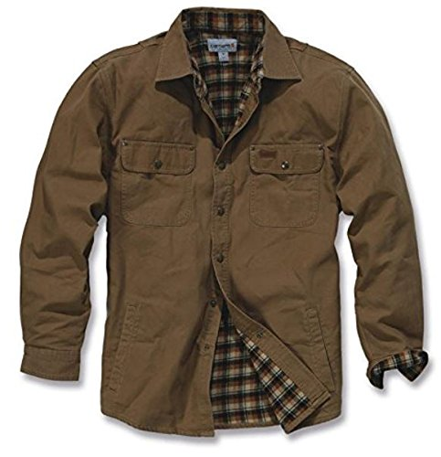 Carhartt Men's Weathered Canvas Shirt Jacket Snap Front,Frontier Brown,Medium by Carhartt