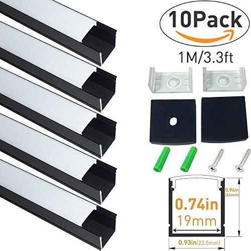 LightingWill Spot Free U Shape LED Aluminum Channel 10-Pack 3.3ft/1M 24x24mm Anodized Black Track Internal Width 20mm with Cover End Caps Mounting Clips for Cabinet Kitchen LED Strip Lighting-U06B10