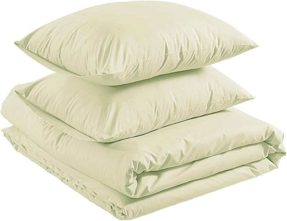 AmazonBasics Organic Percale Duvet Comforter Cover Set, Full / Queen, Linen