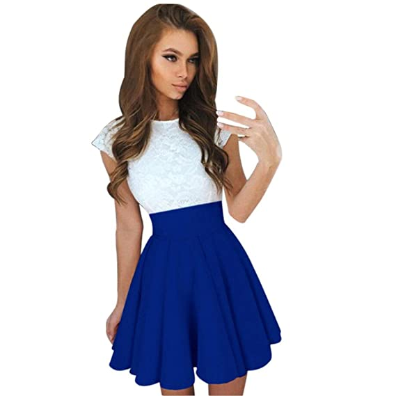 Amazon.com: FUNIC Women Summer Mini Dress, Short Sleeve Skater Lace Dress Party Cocktail Dresses (Small, Blue): Home & Kitchen
